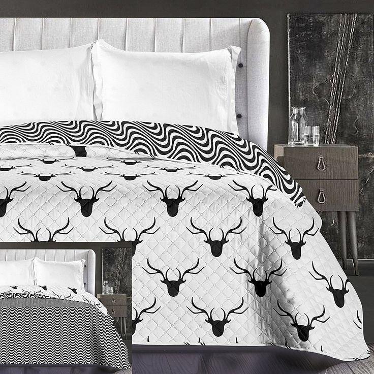 Moderné obojstranné prehozy na posteľ bielej farby