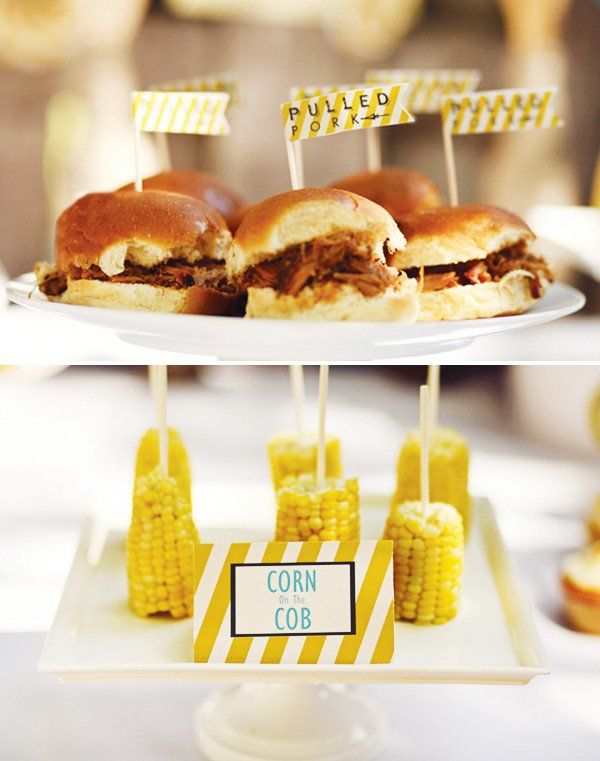Backyard Beer Bash Adult Birthday Party. Love these finger foods for a backyard beer party - pulled pork sliders and corn on the cob.