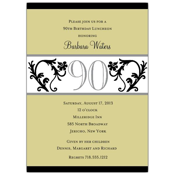 90th Birthday Invitation Wording | Gifts, Invitation ...