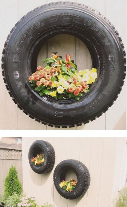 27 best flowers and split rail fences images on pinterest for Using tyres as planters