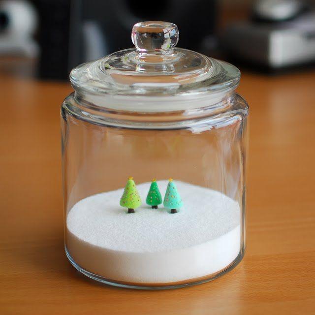 "joojoo: polymer clay Christmas trees in a sea salt ""terrarium"""