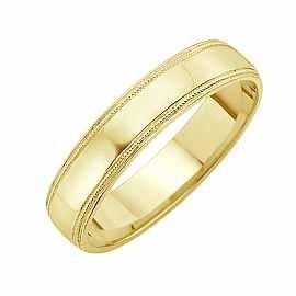 Obrączka Ślubna Staviori Obrączka.  Żółte Złoto 0,585.  Szerokość 5 mm. Grubość 1,2 mm.  Dostępne inne kolory złota.
