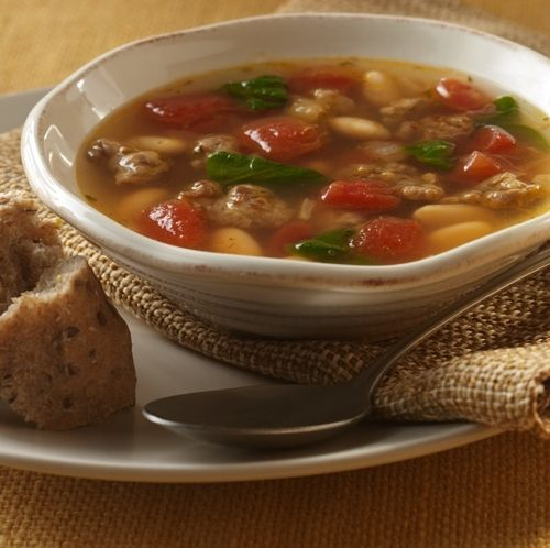 Hearty Harvest Soup... Italian sausage and a bounty of vegetables join together in this flavorful soup recipe that only takes 30 minutes