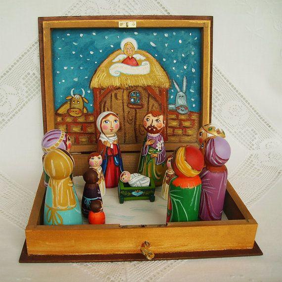 Christmas nativity set book box case Noel Holy Family Three Kings wooden scene creche crib angel baby Jesus Christ Joseph Mother Mary sheep