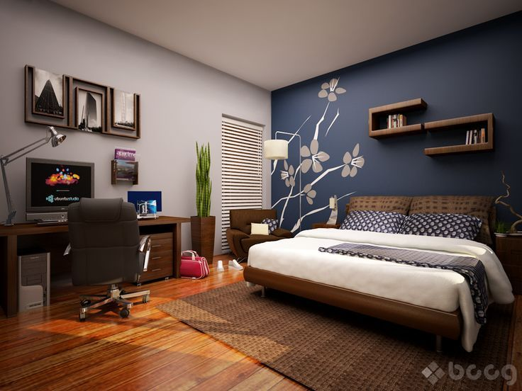 gray and blue bedroom. Fine Dark Blue Accent Wall Bedroom Paint Gray Google And Ideas