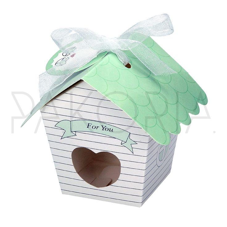 Pudełko PISTACJOWY DOMEK z blankiecikiem.  Idealne na chrzest, roczek, baby shower, gender party, kinder party. Inspiracje. pakoria.pl Inspiration, cute little house box.