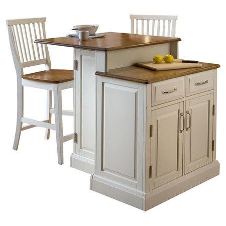 Found it at Wayfair - Woodbridge 3 Piece Oak Top Kitchen Island Set in White