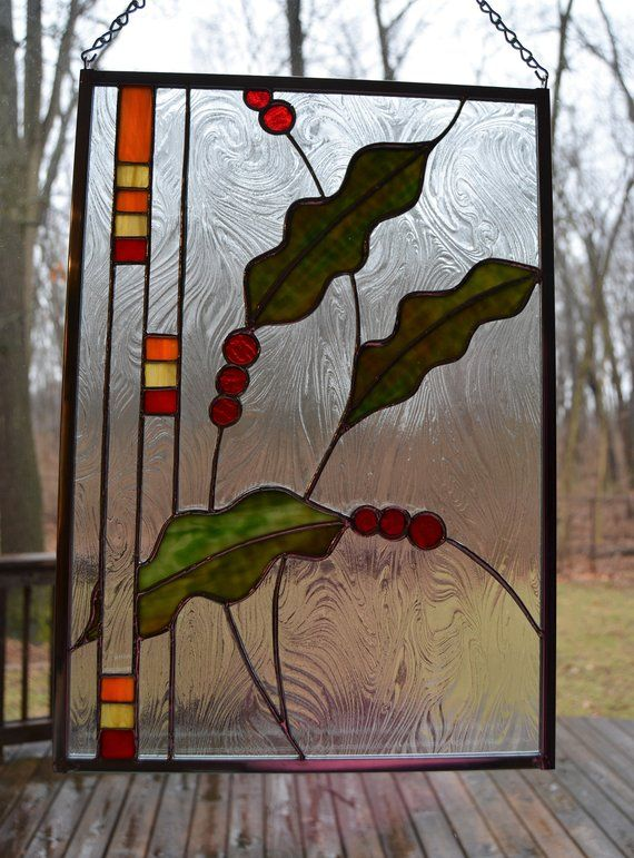 Stained Glass Modern Holly And Berries Panel 17 X 12 Etsy In 2020 Stained Glass Birds Modern Stained Glass Panels Stained Glass