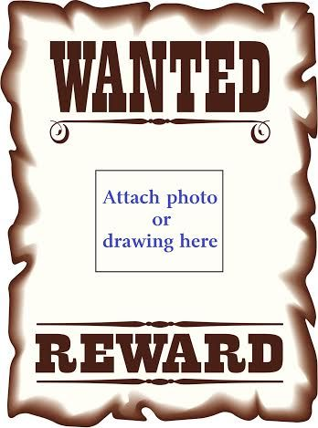 Western themed wanted poster for kids