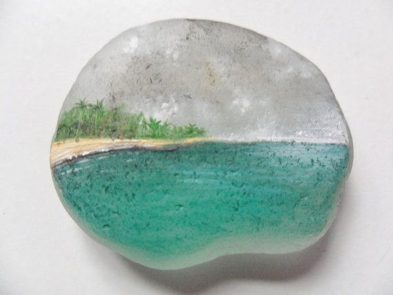 Tropical island  miniature painting on lovely English sea glass by Alienstoatdesigns, $19.00