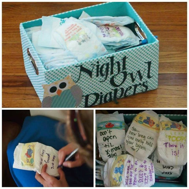 Baby shower idea: everyone writes something funny/inspirational on the diapers.