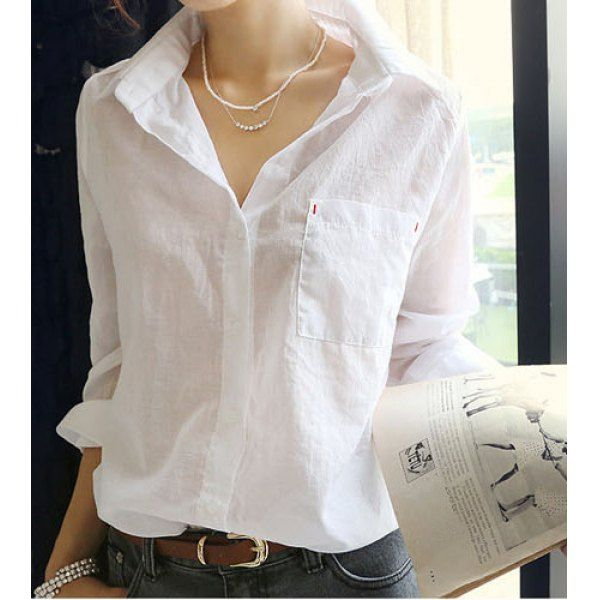 Wholesale Plus Size Long Sleeve Turn Down Collar Single-Breasted Shirt For Women (WHITE,ONE SIZE), Blouses - Rosewholesale.com
