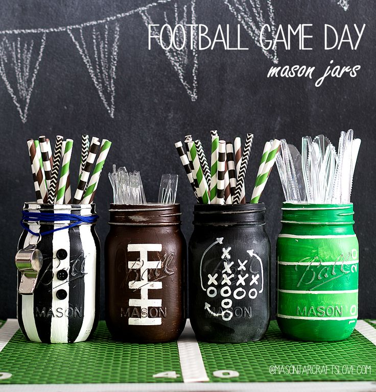 Mason Jar Crafts: Super Bowl Football Game Party Ideas