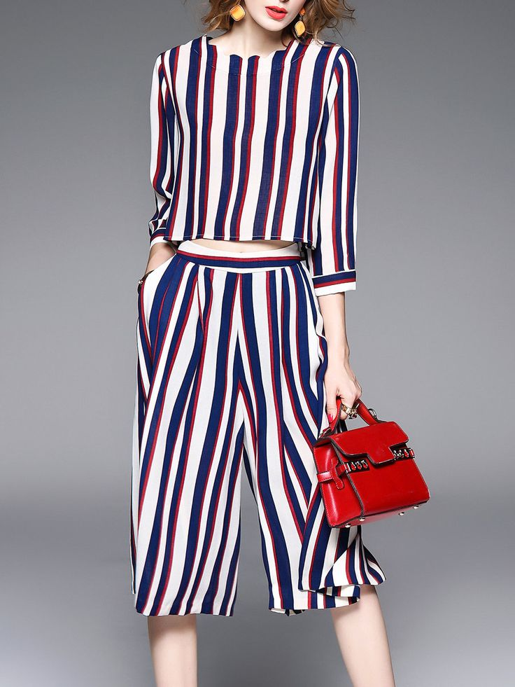 #AdoreWe #StyleWe Jumpsuits - QinPei.er Multicolor Polyester 3/4 Sleeve Stripes Two Piece Jumpsuit - AdoreWe.net