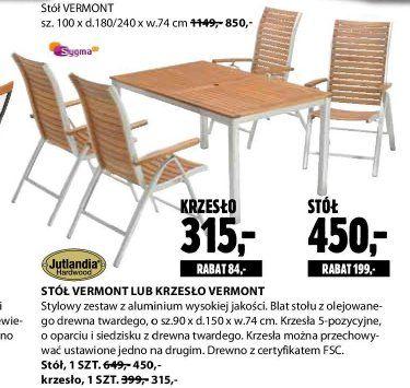 Archiwum   Stół lub krzesło Vermont - Jysk 28. 06. 2012 - 11. 07. 2012…