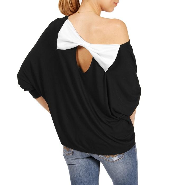 Black Off The Shoulder 3/4 Sleeve Top