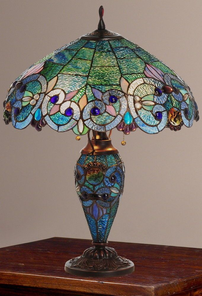 Tiffany style corrista stained glass double lit table lamp topaz new stainedglass