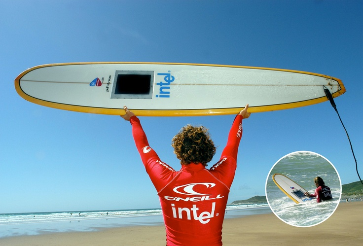 Intel wifi surfboard technology demonstrator by Neil Barron from Gusto