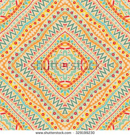 Mexican seamless pattern. Repeatable abstract symmetric geometric ornament. Ethnic background. Colorful texture. Vector file is EPS8.