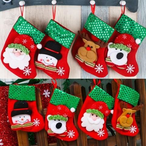 Christmas Party Santa Socks Cute Xmas Tree Hanging Ornaments Festival Decoration