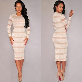 Long sleeve lace skirt mini clubbing cocktail dress 016