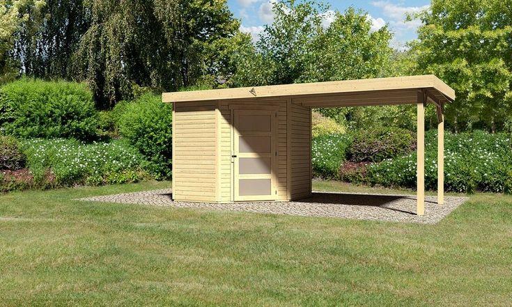 KARIBU Gartenhaus »Schwandorf 3«, Gesamtmaß (BxT): 488x238 cm, Inkl. Anbau für 899,99€. Aus naturbelassenem Fichtenholz, Sockelmaß (BxT): 213 x 217 cm bei OTTO