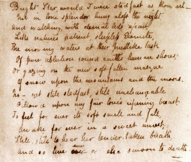 "bright star by john keats poetry Hopefully, you've checked out the step-by-step instructions for writing a poetry analysis observations and analysis of ""bright star"" by john keats: the poem is an english/shakespearean sonnet, a 14 line poem with an ababcdcdefefgg rhyme scheme written in iambic pentameter."