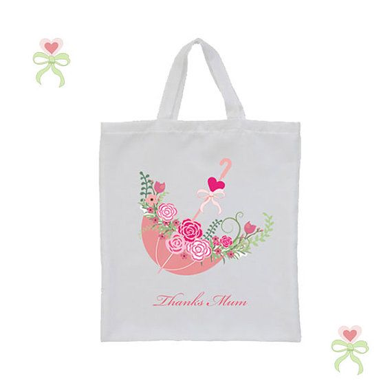 Personalised tote bag wedding favor bridesmaid flower by cjcprint