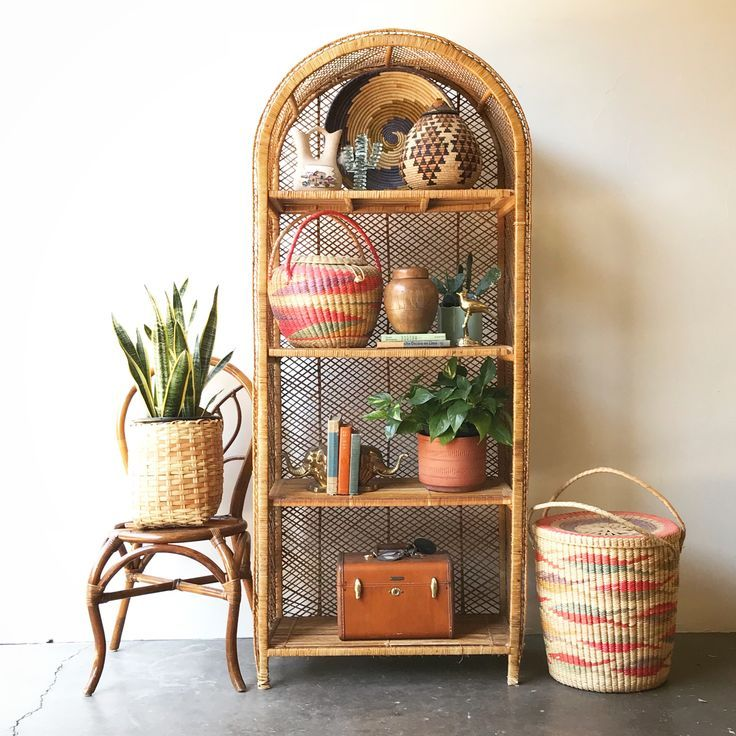 Sold Vintage Rattan Shelf Large Boho Home Shelf