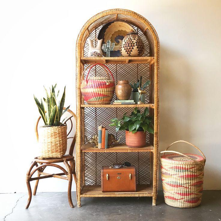 SOLD: Vintage Rattan Shelf / Large / Boho Home / Shelf