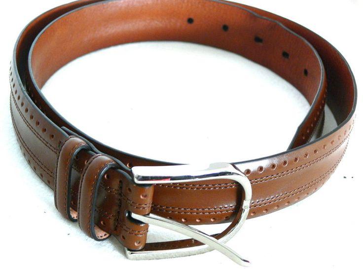 Johnson And Murphy Brown Textured leather Belt Size 38 #Johnsonandmurphy