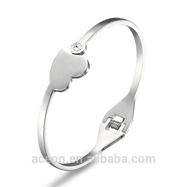 Yiwu Aceon Stainless Steel Best Gift For Her High Polished Popular Fashion Lady Plain Heart Bangle