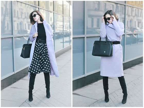 Daria Harman - Asos Coat, H&M Boots, Moda No Time Dress As A Skirt - Dots