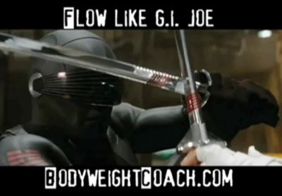 The G.I. Joe movie — like any good action flick — contains some admirable scenes of impressive acrobatics. They recall the cool bodyweight exercise moves from CST. That's the kind of thing that really gets my juices flowing. I love watching good movement, especially enhanced to superhuman proportions through the latest Hollywood gadgetry.