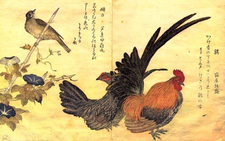 Китагава Утамаро.   Петух и курица