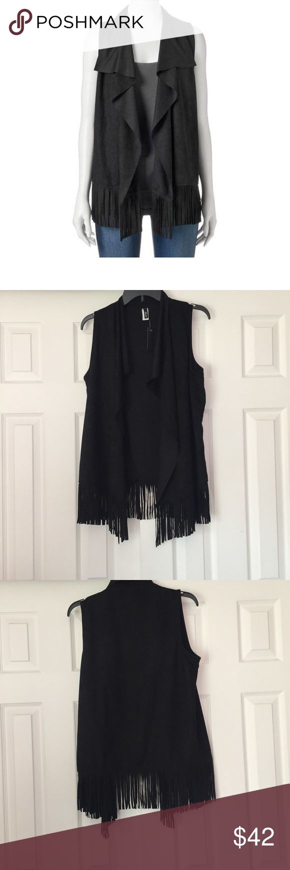 Apt. 9 Fringe Vest Apt 9. Fringe Vest in black. One size fits most. Faux suede fabric, 100% polyester. Long fringe accents around the bottom. New with tags, never worn! [B91] Apt. 9 Tops