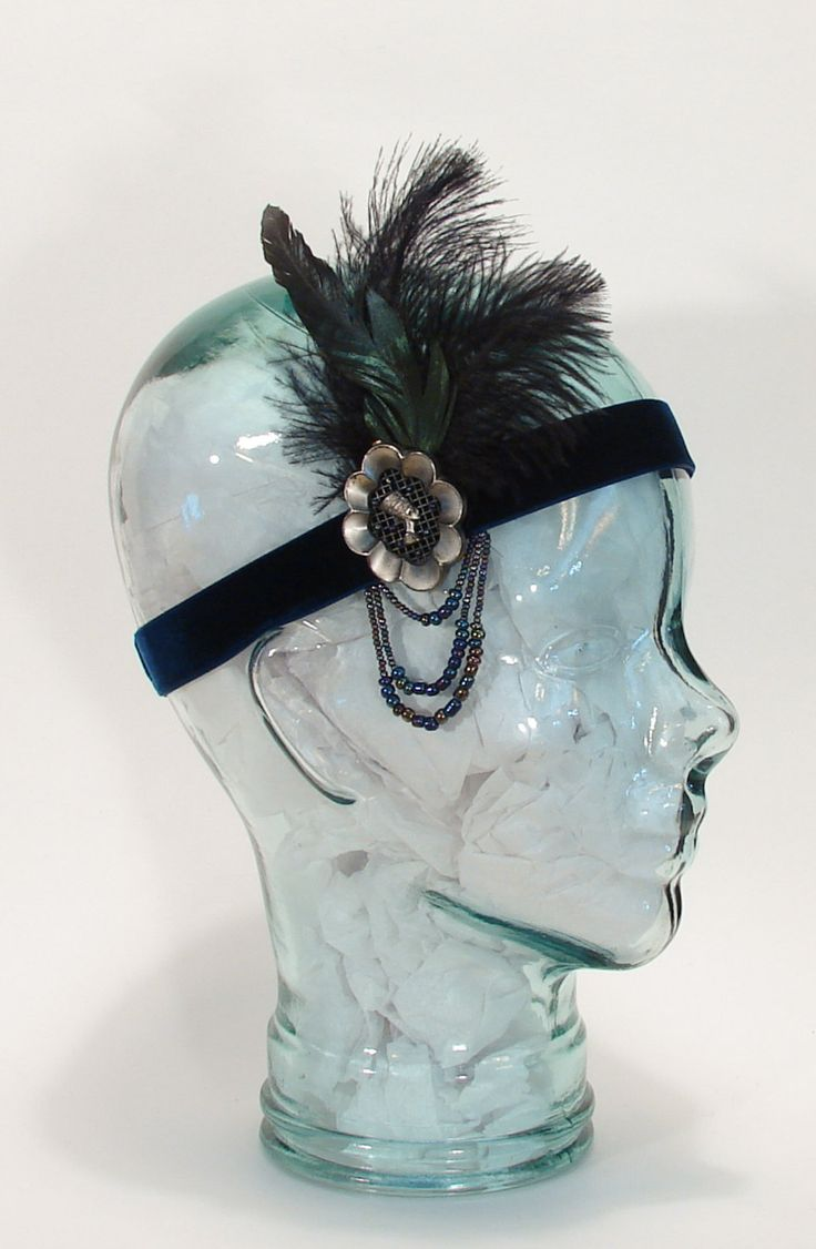 Gatsby Headband Jazz Age Flapper Art Deco Velvet FH02 by littlehats on Etsy