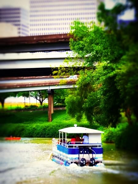 Even long time Houston residents might not know about the Second Saturday Buffalo Bayou Pontoon Boat rides... Spend a half hour cruising the bayou for 7-bucks for adults, and 5-bucks per child.  Held every second Saturday between 10 am-2 pm, first come, first serve.  Ask about their evening Bat Colony Pontoon Boat rides, too! They run about 35 bucks per person, but it's so cool...