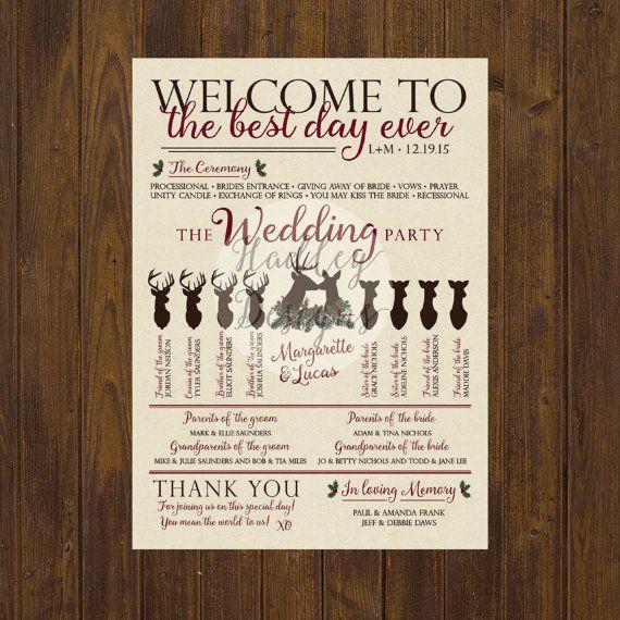 Winter Wedding Program Christmas Wedding by HadleyCustomDesigns