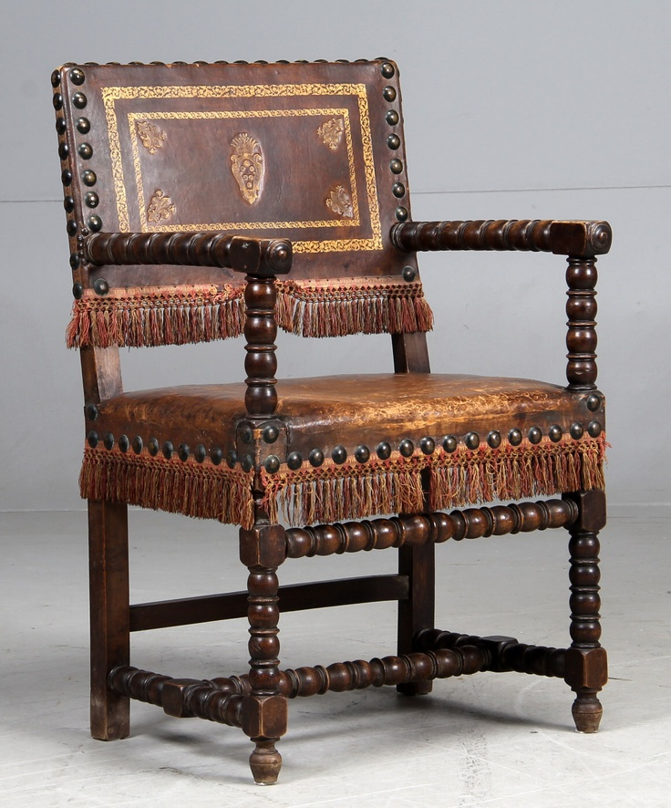 Armchair Made Of Stained Oak Copper Nail Studded Seat And