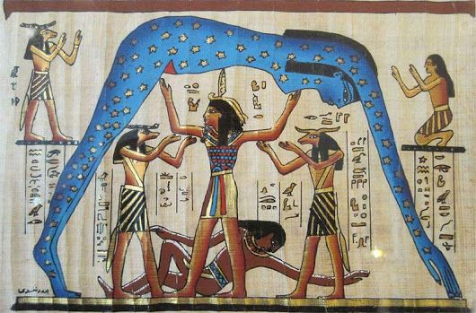 "Nut, Goddess Of The Night Sky Lifted By Shu, God Of The Air & Supported By Geb, God Of Earth..... Beautiful Papyrus #Art    Peace ""& Love Be Upon ... - Egypt - Google+"