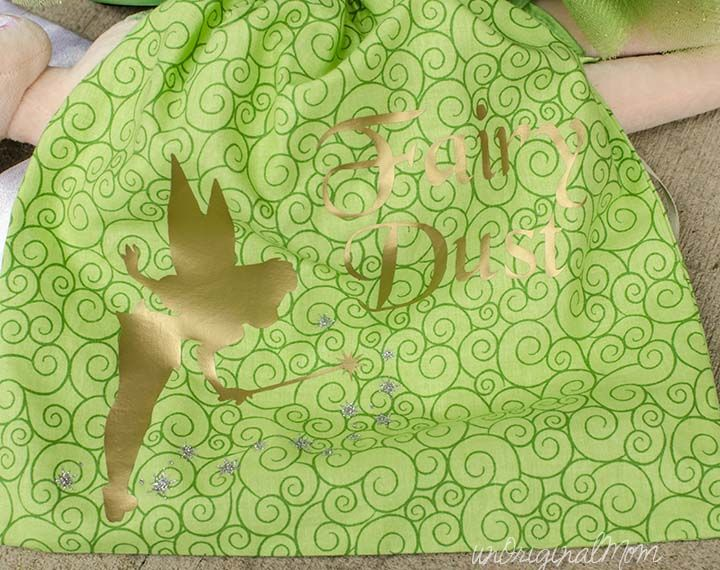 """DIY Toddler Tinkerbell Costume - complete with """"fairy dust"""" candy bag made with heat transfer vinyl"""