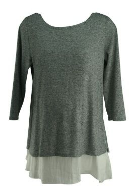 ebe753f09c3fe Heather Gray A Pea in the Pod Maternity 3/4 Sleeve Exclusive White Trim  Blouse (Like New - Size Large) - Motherhood Closet - Maternity Consignment