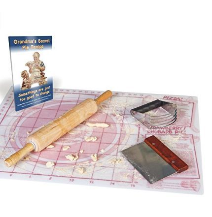"""Grandma's How to Make a Pie Kit, Includes 5 Baking Tools : (1) Rolling Pin, (1) Pastry Blender , (1) Pastry Scraper, (1) Baking Mat, AND """"How to Bake 25 Perfect Pie Recipes"""" eBook."""