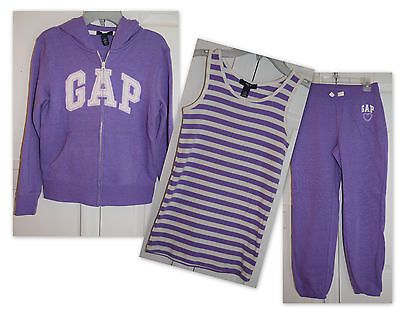Gap Kids Factory Girls Purple Logo Hoodie Tank Top & Sweatpants Lot Size M L gm