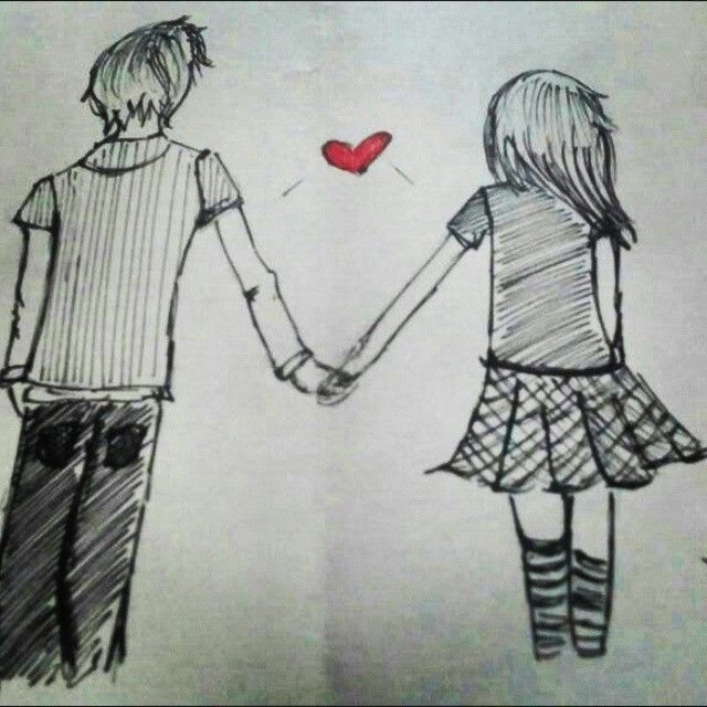 A Drawing Of A Girl And Boy Together Google Search