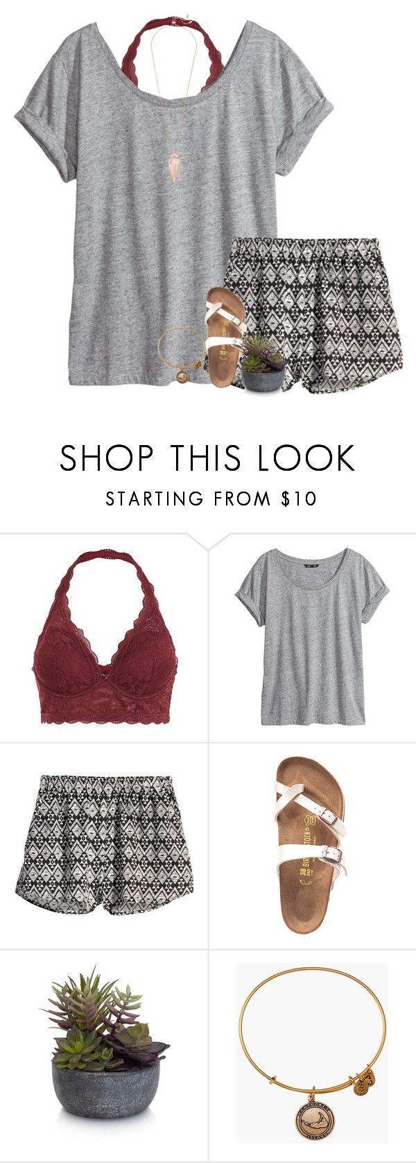 """Idée et inspiration look d'été tendance 2017 Image Description """"Look for the girl with a broken smile"""" by stripedprep ❤ liked on Polyvore featuring H&M, Birkenstock, Elements, Alex and Ani and Kendra Scott"""