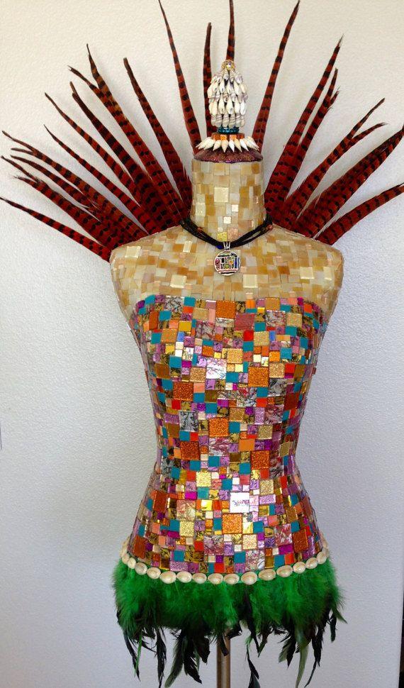 MOSAIC MANNEQUIN ART Zulu Princess Pheasant by Mosaicsbycarrie