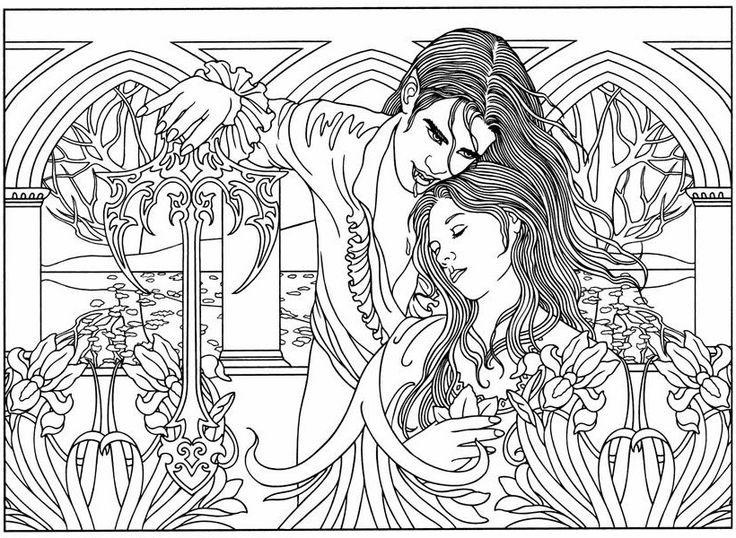 Vampire Coloring Pages For Adults : Best images about goth coloring page on pinterest