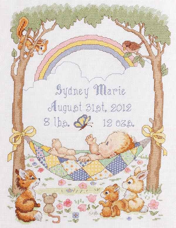 """Counted Cross Stitch kit 10""""x13"""" OUR LITTLE BLESSING Birth Record"""